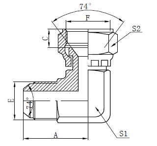 JIC тегіс бет коннекторлары
