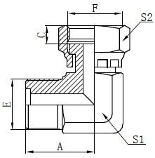 Метрикалық ерлер O-ring Fittings Drawing